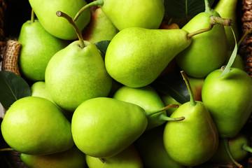 Delicious ripe pears, close up