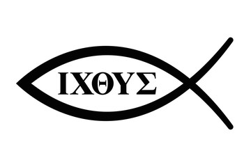 Sign of the fish with initial letters of five Greek words forming the word Ichthus for fish. The English translation of the five words are Jesus Christ, Son of God, Saviour. Black illustration. Vector