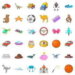 Dinosaurs icons set, cartoon style