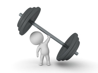 3D Character lifting giant dumbbell weight
