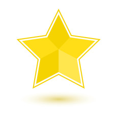 Yellow star icon with shadow, vector illustration
