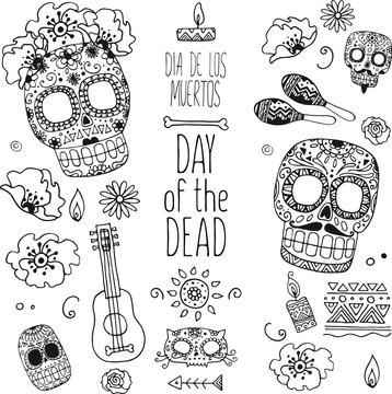 dia de muertos hand drawn doodles
