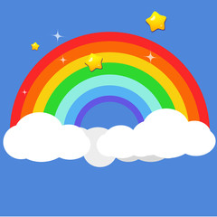Beautiful rainbow on clouds with star at night vector illustration. Shade of color background.Fantasy nature scene background.