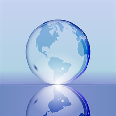 Blue shining transparent earth globe with South and North America continents laying on glass surface and reflecting in it. Bright and shining design. Vector illustration.