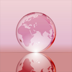 Pink shining transparent earth globe with Eurasia, Africa and Australia continents laying on glass surface and reflecting in it. Bright and shining design. Vector illustration.