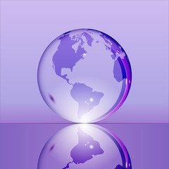 Purple shining transparent earth globe with South and North America continents laying on glass surface and reflecting in it. Bright and shining design. Vector illustration.