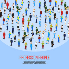 Isometric People Professions Background