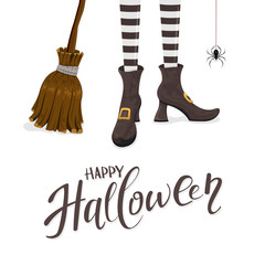Happy Halloween with witches legs and broom