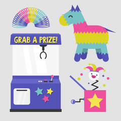 Entertainment bright set: a slot machine, a pinata, a rainbow spring and a jack in the box toy. Flat editable vector illustration, clip art