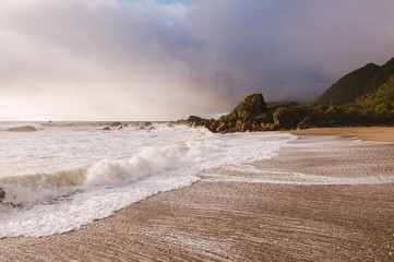 Waves on a beautiful beach in New Zealand