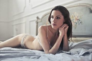Beauty lying in bed
