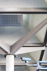 Security camera in a modern building