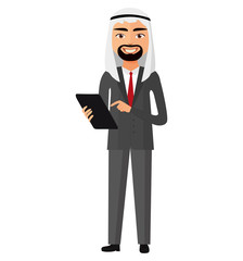 Happy arab muslim iran businessman with tablet flat cartoon vector illustration.