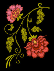 Embroidery. Embroidered design elements with flowers and leaves