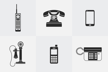 Vector silhouette telephone icons