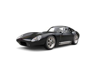 Jet black vintage race car - beauty shot