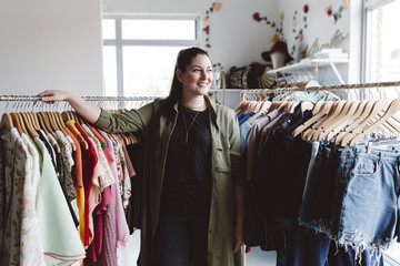 Small business owner in her clothing store
