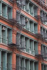 A coloured apartment building