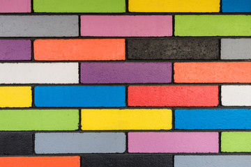 background image of colourful brick wall