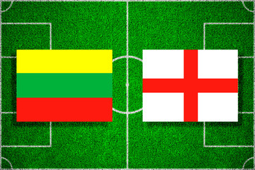 Flag of Lithuania - England on the football field. soccer match