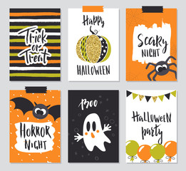 Set of Halloween hand drawn greeting card with calligraphy quotes, words and phrases.Vector illustration with cute spider, pumpkin, bat and ghost.