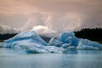 In de dag Gletsjers Icebergs from the Leconte Glacier. Colorful ice from the Leconte Glacier moves out to LeConte Bay on the inside passage in southeast Alaska near the city of Petersburg.