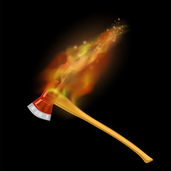 Burning Firefighter Axe Icon with Fire