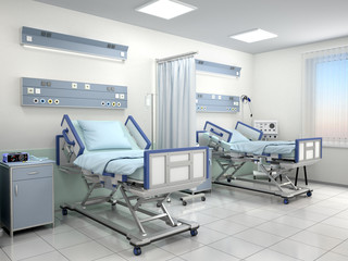 hospital room with two beds in blue tones. 3d illustration