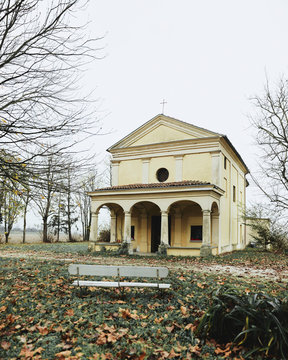 Old little church in countryside near Pavia, northern Italy