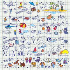 big hand drawn doodles vector set