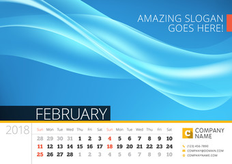 Desk line calendar for 2018 Year. February. Vector design print template with abstract background. Week starts on Sunday