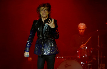Jagger and Watts of the Rolling Stones perform at Letzigrund stadium in Zurich