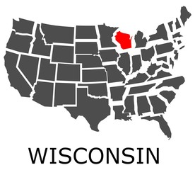 Bordering map of USA with State of Wisconsin marked with red color.