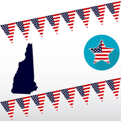 Map of the U.S. state of New Hampshire on a white background. American flag, star.