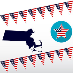 Map of the U.S. state of Massachusetts on a white background. American flag, star