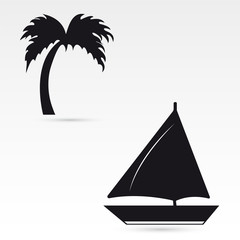 A set of palm yacht icons. Vector