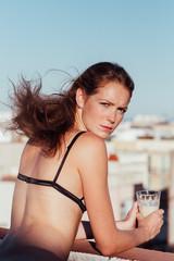 Beautiful woman on a Barcelona rooftop