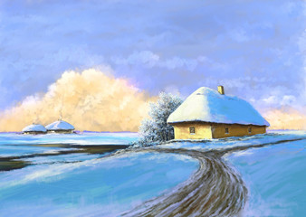 Oil winter landscape, village, road, digital art