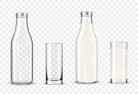 Set of glasses and bottles with a milk on transparent background