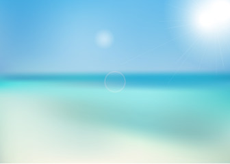 The background of the beach and sea blurred with the horizon. Vector