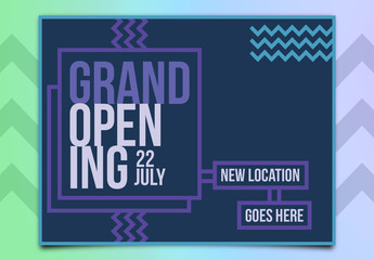 Grand Opening Poster Layout with Blue and Purple Accents