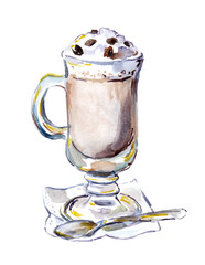 Watercolor painted glass of coffee with foam