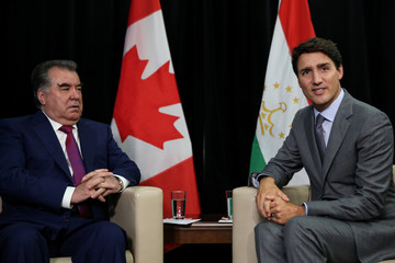 Canadian Prime Minister Justin Trudeau holds a bilateral meeting with the Tajikistani President Emomali Rahmon at the United Nation Headquarters on the sidelines of the 72nd United Nations General Assembly in New York
