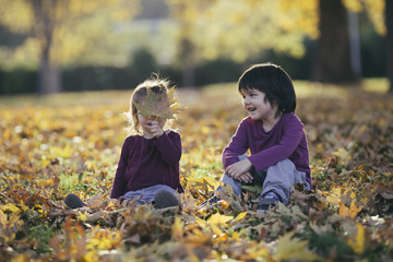 Children sitting in park full with yellow autumn leafs.