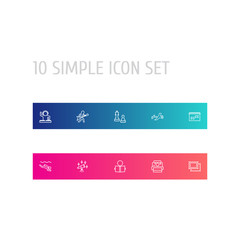 Set Of 10 Entertainment Outline Icons Set.Collection Of Reading, Diving, Aquarium And Other Elements.