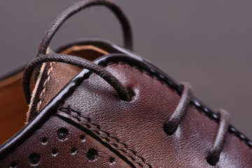 Leather shoe closeup