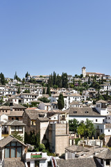 Overview of UNESCO listed Albaicin quarter in Granada, Andalusia, Spain