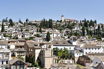Overview of UNESCO listed Albaicin quarter in Granada, Andalusia, Spain