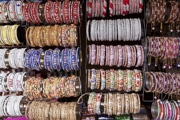 colorful bangles selling in a local market