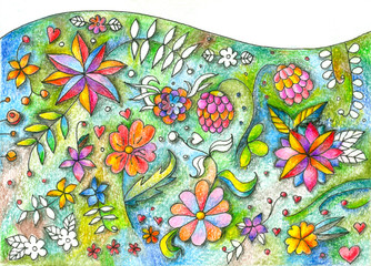 Beautiful floral lawn. Different summer flowers. Hand drawn picture by colored pencils.